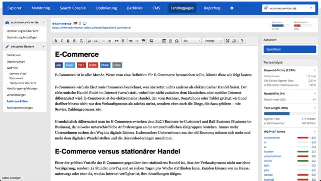 Bei einem modernen SEO Tool darf der WDF*IDF Editor nicht fehlen