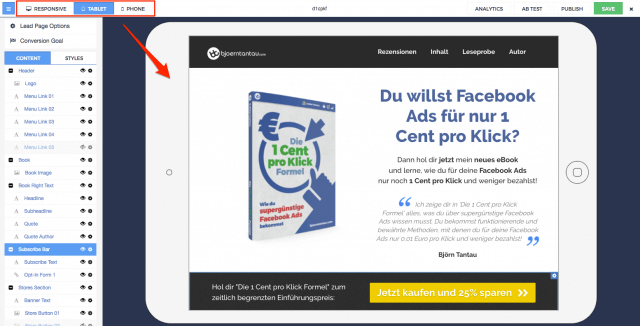 Biete eine Website mit Responsive Design an