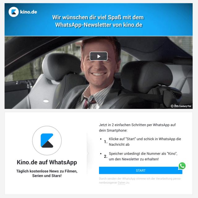 Der WhatsApp Newsletter von Kino.de bringt abends eine Newszusammenfassung