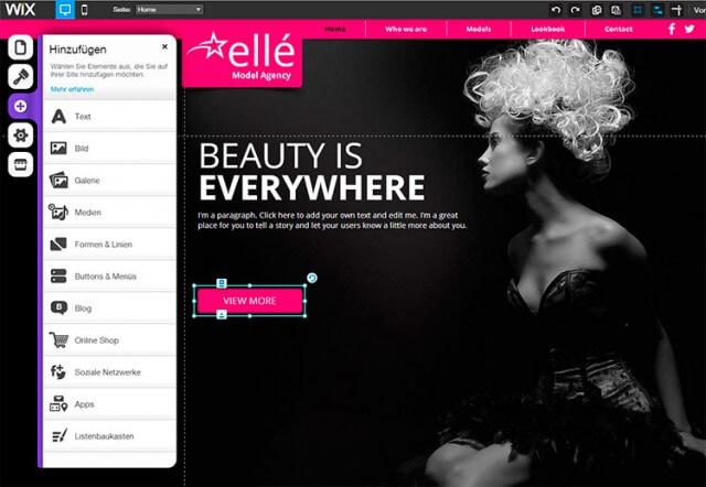 Homepage-Baukasten von WiX