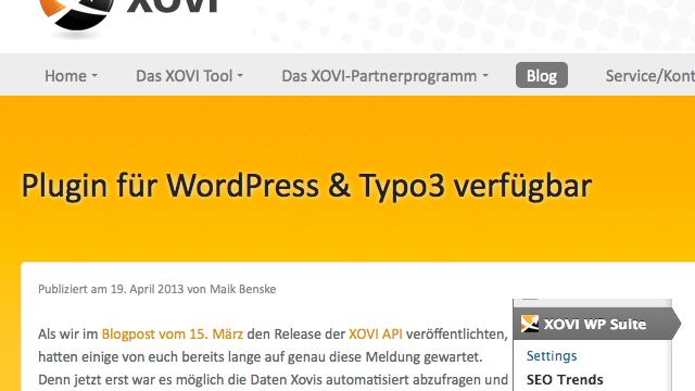 XOVI WordPress Suite veröffentlicht
