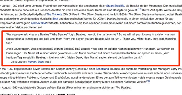 Die Wikipedia ist ein Beispiel für die häufige Nutzung von Zitaten